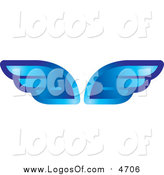 Vector Clipart of Shiny Blue Wings by Lal Perera