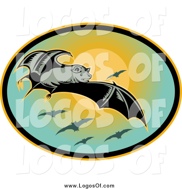 Clipart of a Flying Bat and Sunset Logo