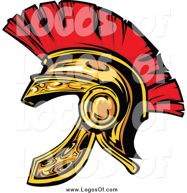 Clipart of a Gold and Red Spartan Helmet Logo