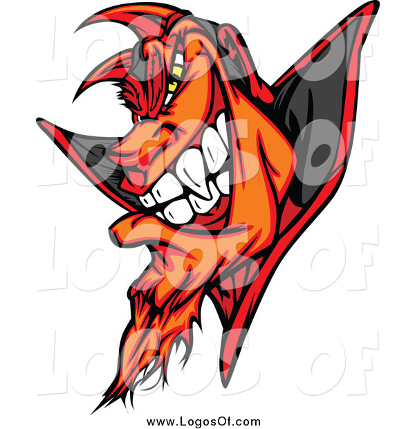 Clipart of a Grinning Evil Devil Logo