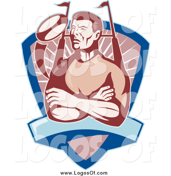Clipart of a Male Rugby Football Player in a Shield Sports Logo