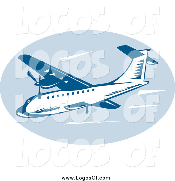Clipart of a Retro Blue Commercial Airplane Logo