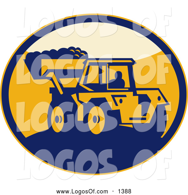 Clipart of a Retro Mechanical Digger in an Oval Logo