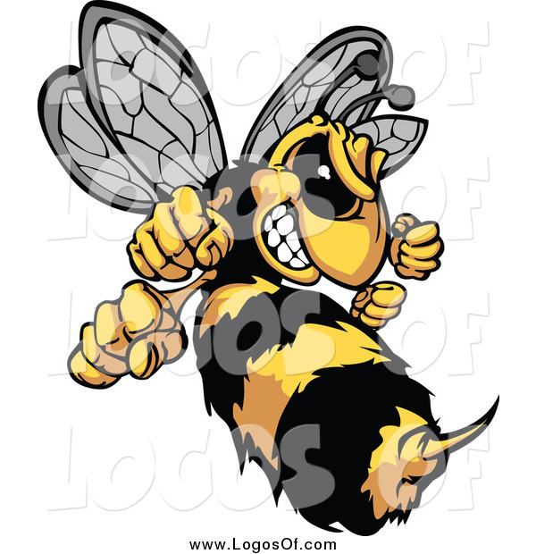 Clipart of a Stinging Aggressive Hornet Logo