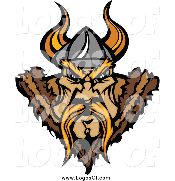 Clipart of a Tough Blond Viking Warrior Face Logo