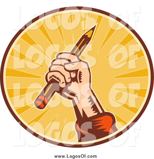 Clipart of a Writer's Hand Holding up a Pencil in a Sunny Circle Logo