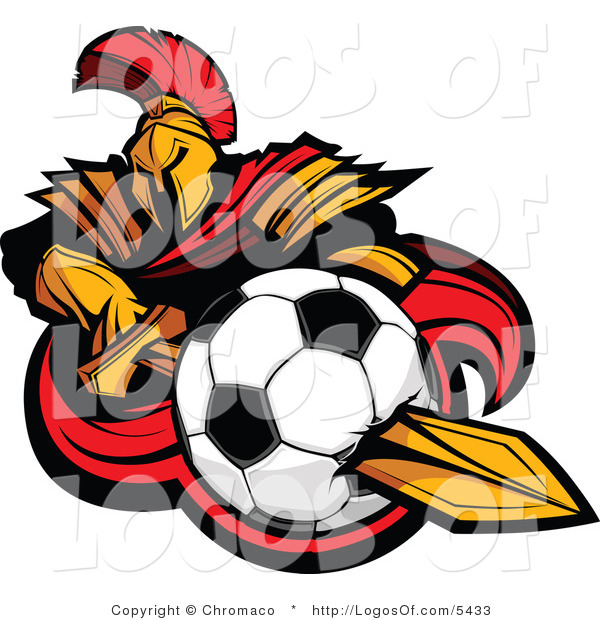 Logo of a Spartan Warrior with a Soccer Ball on His Sword