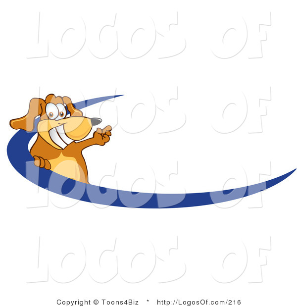 Logo of a Waving Dog over a Blue Swoosh