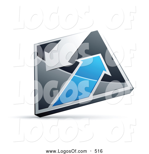 Logo Vector of a 3d Chrome and Blue Diamond with Arrows