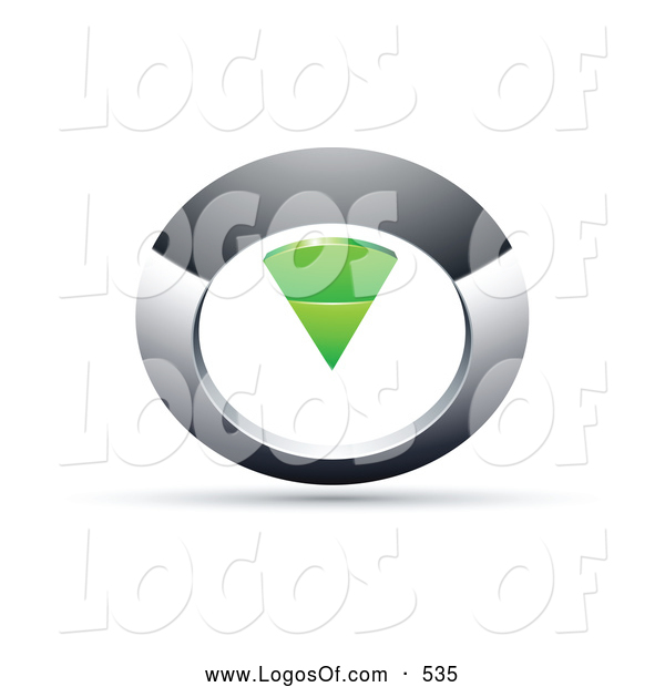 Logo Vector of a 3d Chrome and Green Circular Knob