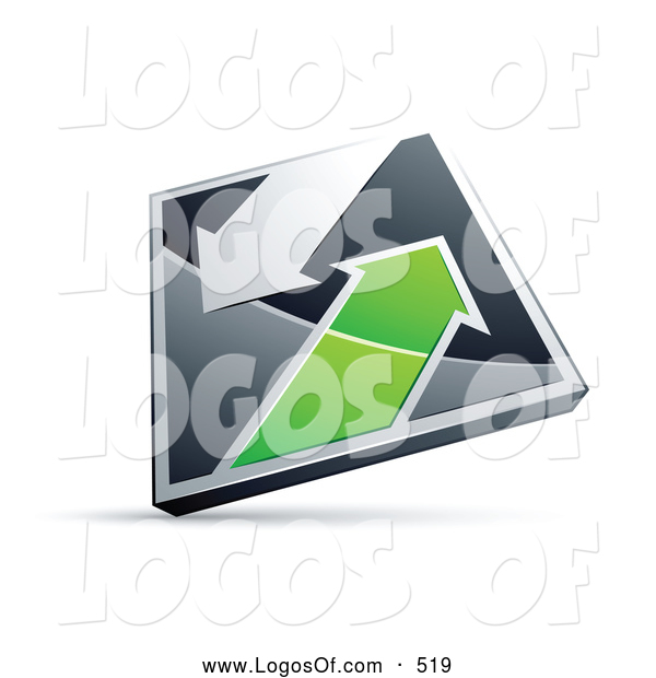 Logo Vector of a 3d Chrome and Green Diamond with Arrows