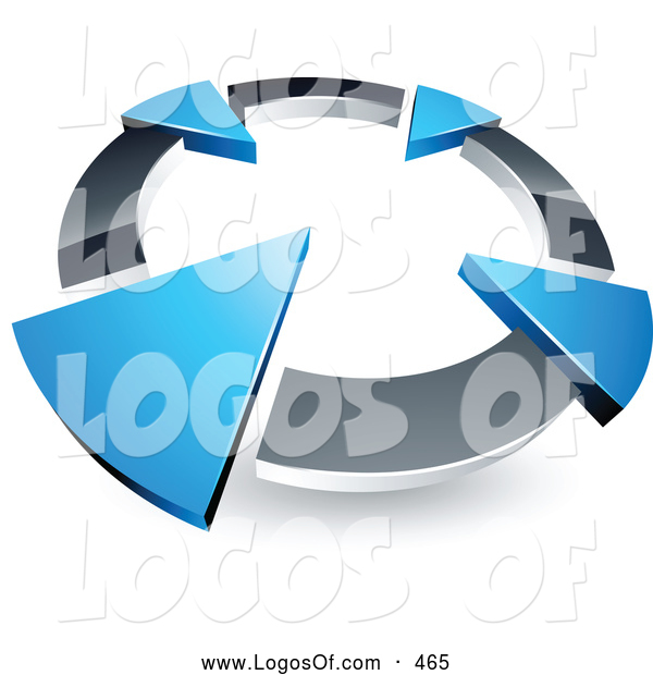 Logo Vector of a 3d Chrome Circle with Four Blue Arrows Pointing Inwards