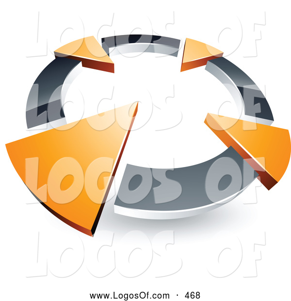 Logo Vector of a 3d Chrome Circle with Four Orange Arrows Pointing Inwards