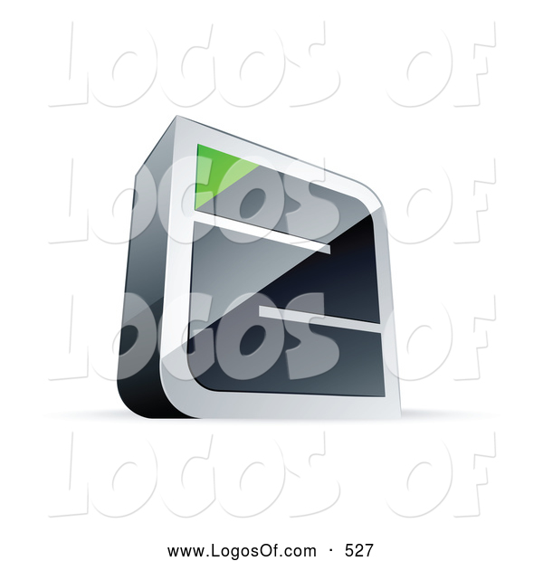 Logo Vector of a 3d Chrome Maze with a Green Triangle at the End