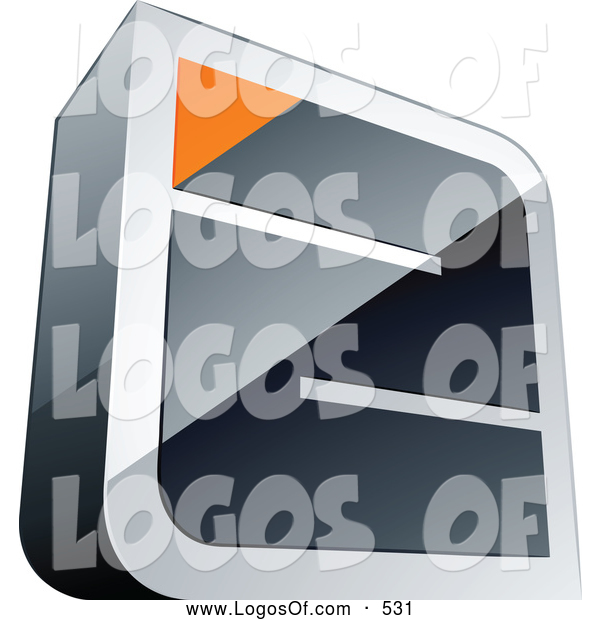 Logo Vector of a 3d Chrome Maze with an Orange Triangle at the End