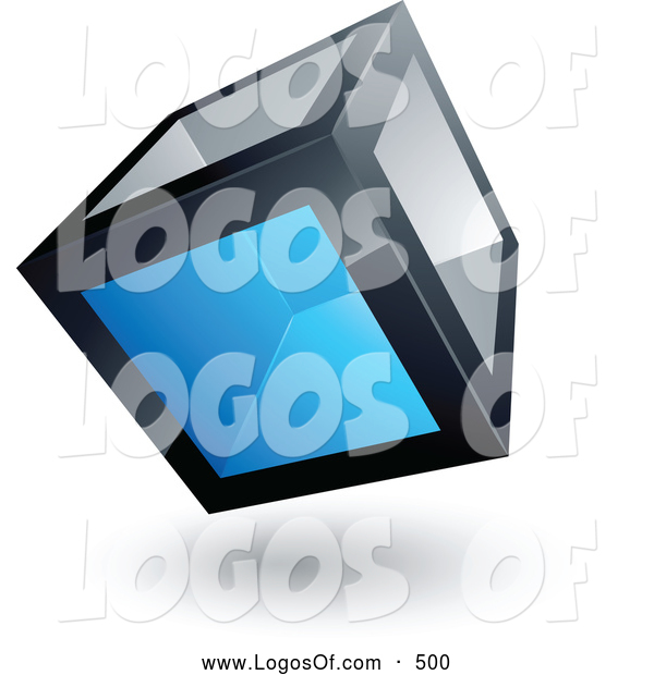 Logo Vector of a 3d Cube with One Blue Transparent Window