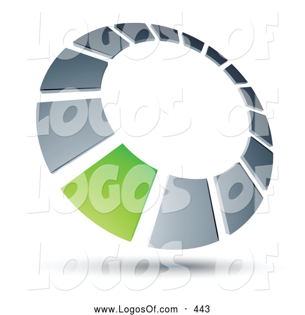 Logo Vector of a 3d Green Square in a Chrome Dial, Above Space for a Business Name and Company Slogan