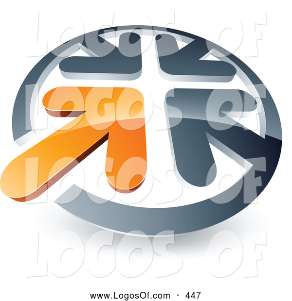 Logo Vector of a 3d Orange Arrow Standing out in a Circle of Chrome Arrows, Above Space for a Business Name and Company Slogan