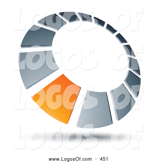 Logo Vector of a 3d Orange Square in a Chrome Dial, Above Space for a Business Name and Company Slogan