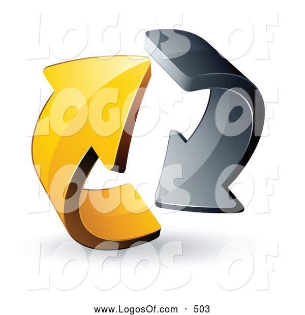Logo Vector of a 3d Pre-Made Logo of Gray and Yellow Circling Arrows