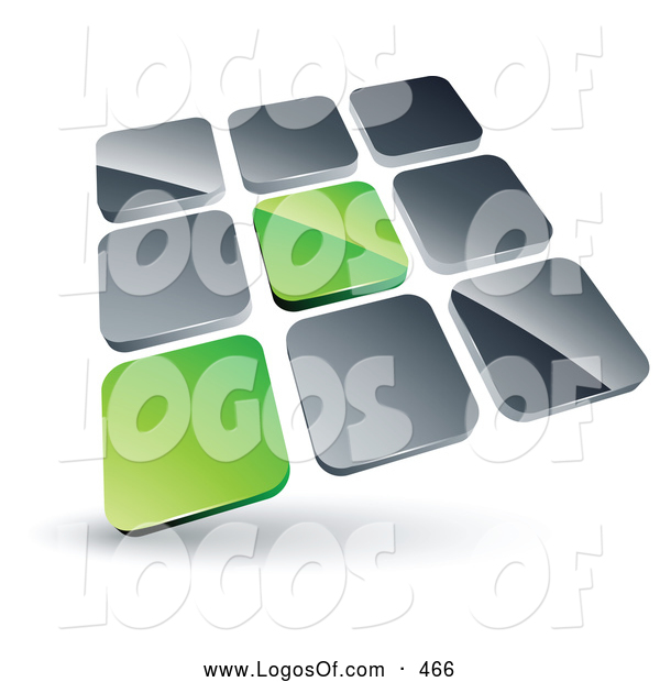 Logo Vector of a 3d Pre-Made Logo of Two Green Tiles Standing out from Rows of Silver Tiles