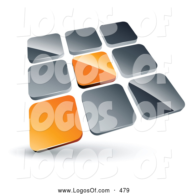 Logo Vector of a 3d Pre-Made Logo of Two Orange Tiles Standing out from Rows of Silver Tiles
