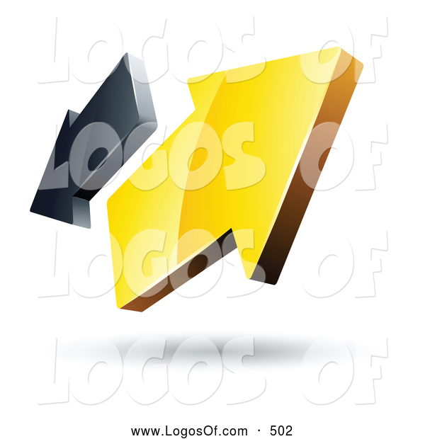 Logo Vector of a 3d Pre-Made Logo of Yellow and Gray Arrows Going in Opposite Directions