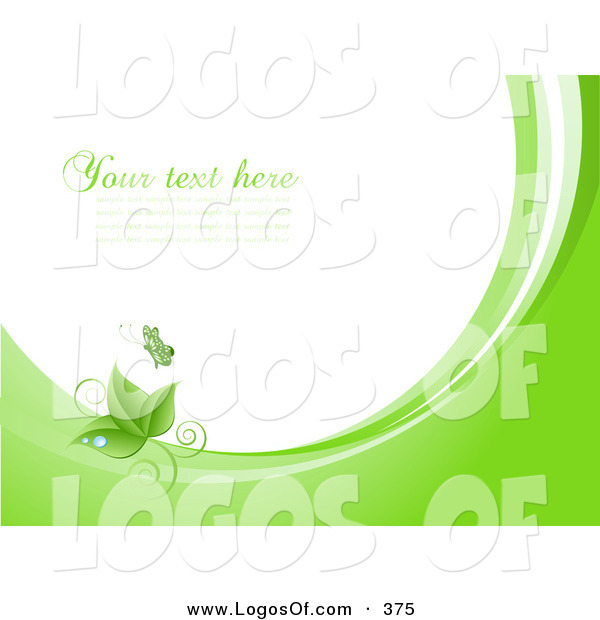 Logo Vector of a Beautiful Green Butterfly Above Green Leaves with Dew Drops, on Waves of Green and White, Around White with Space for Text or a Business Name