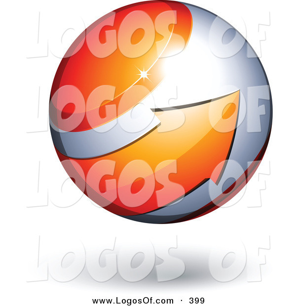 Logo Vector of a Big Orange Arrow Circling an Orb Above Space for a Business Name and Slogan, on a White Background