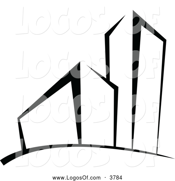 Logo Vector of a Black and White Building and Skyscraper Logo