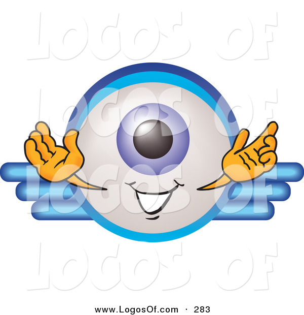 Logo Vector of a Blue Eyeball Mascot Cartoon Character on a Business Logo on White