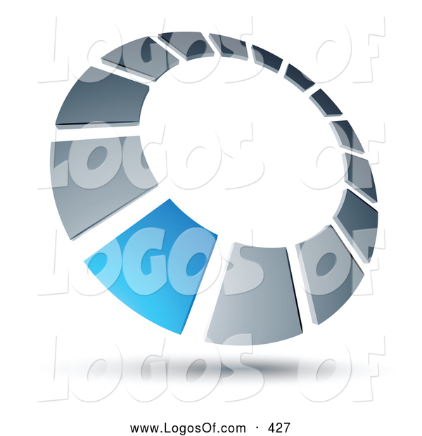 Logo Vector of a Blue Square Completing a Chrome Dial, Above Space for a Business Name and Company Slogan