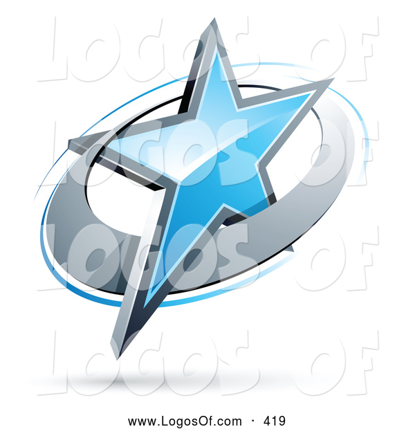 Logo Vector of a Blue Star in a Chrome Ring, Above Space for a Business Name and Company Slogan