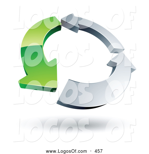 Logo Vector of a Circle of a Single Green Arrow and Two Chrome Arrow