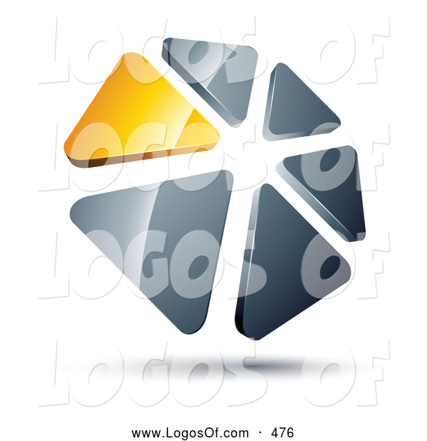 Logo Vector of a Circle of Yellow and Silver Reflective Metallic Triangles