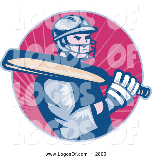 Logo Vector of a Cricket Batsman over Pink Rays