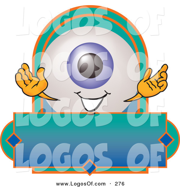 Logo Vector of a Cute and Smiling Eyeball Mascot Cartoon Character on a Blank Business Label