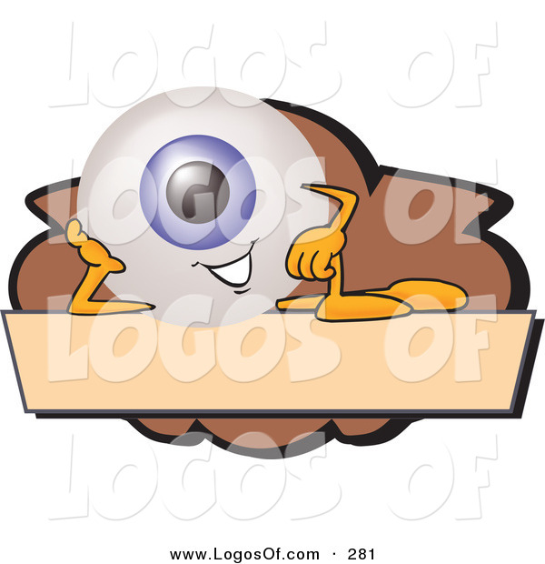 Logo Vector of a Cute Blue Eyeball Mascot Cartoon Character on a Blank Brown and Tan Label