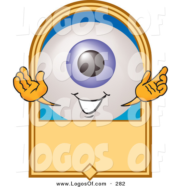 Logo Vector of a Friendly Blue Eyeball Mascot Cartoon Character on a Blank Tan Label