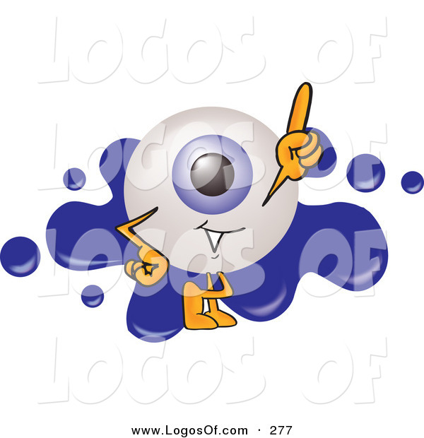 Logo Vector of a Friendly Blue Eyeball Mascot Cartoon Character Pointing Upwards and Standing in Front of a Blue Paint Splatter on a Logo