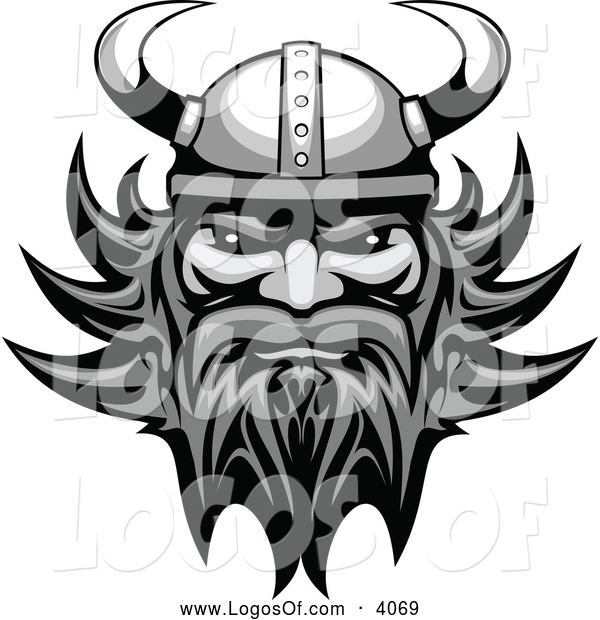 Logo Vector of a Grayscale Viking Man Logo