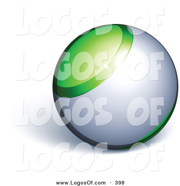Logo Vector of a Green and Silver Marble Orb Above Space for a Business Name and Slogan, on a White Background