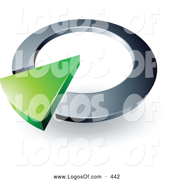 Logo Vector of a Green Arrow in a Silver Circular Dial, Above Space for a Business Name and Company Slogan on White