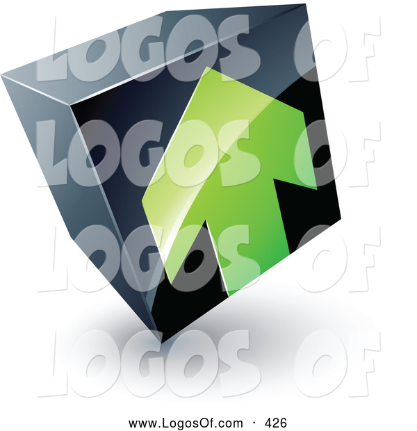 Logo Vector of a Green Arrow Pointing up on a Tilted Black Cube, Above Space for a Business Name and Company Slogan