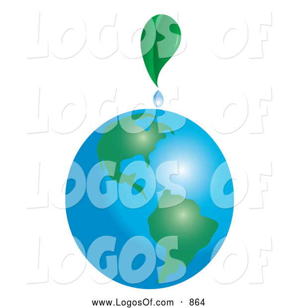 Logo Vector of a Green Leaf Dripping on Planet Earth