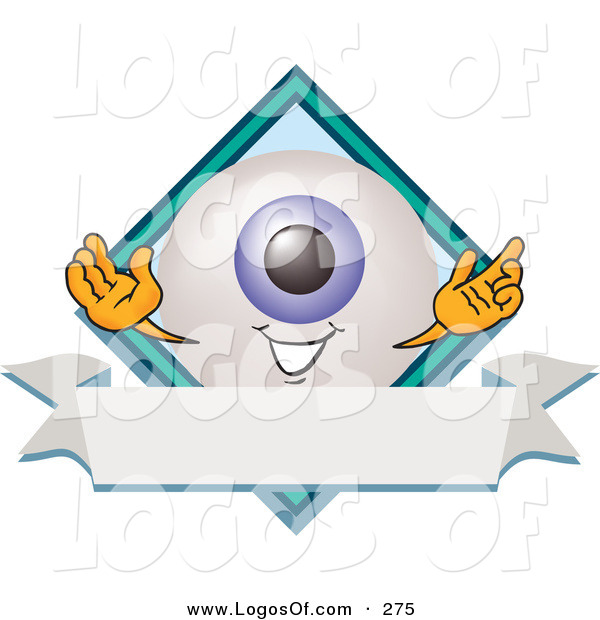 Logo Vector of a Grinning Blue Eyeball Mascot Cartoon Character on a Business Logo Label