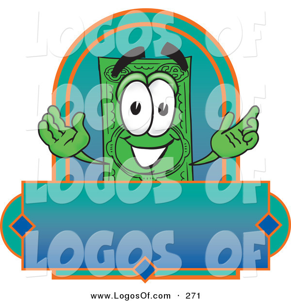 Logo Vector of a Grinning Green Dollar Bill Mascot Cartoon Character on a Blank Label