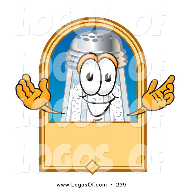 Logo Vector of a Grinning Salt Shaker Mascot Cartoon Character on a Blank Tan Label, Logo or Sign