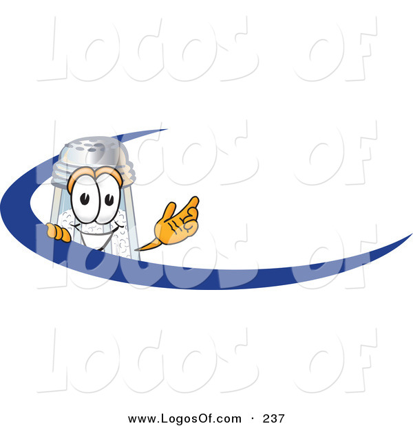 Logo Vector of a Grinning White Salt Shaker Mascot Cartoon Character Waving and Standing Behind a Blue Dash on an Employee Nametag or Business Logo