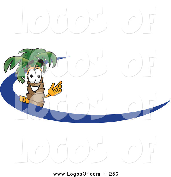 Logo Vector of a Happy Palm Tree Mascot Cartoon Character Waving and Standing Behind a Blue Dash on an Employee Nametag or Business Logo